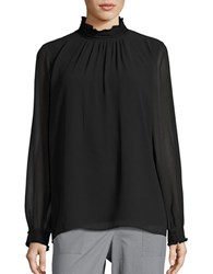 Karl Lagerfeld Long Sleeve Mockneck Blouse Black