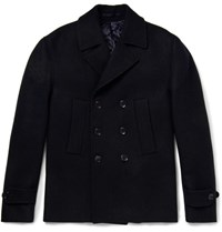 Officine Generale Slim Fit Double Breasted Wool Peacoat Midnight Blue