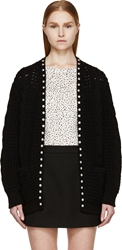 Saint Laurent Black Cable Knit Studded Open Cardigan