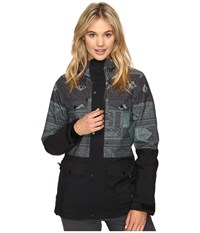 O'neill Cluster Jacket Green All Over Print Women's Jacket Gray