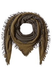 Faliero Sarti Fringed Scarf With Virgin Wool Cashmere And Silk Green