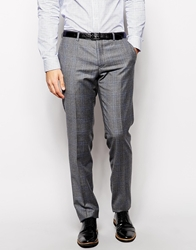 Dkny Slim Fit Check Suit Trousers Grey