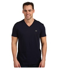 Lacoste S S Pima Jersey V Neck T Shirt Navy Men's Short Sleeve Pullover