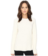 Cashmere In Love Tabitha Ribbed Pattern Pullover Chalk Women's Long Sleeve Pullover White
