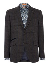 Simon Carter Tweed Check Jacket Grey