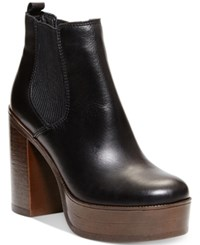 Steve Madden Women's Geanna Chunky Heel Platform Booties Women's Shoes Black Leather