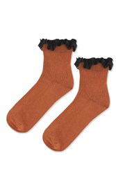 Topshop Lace Trim Ankle Socks Rust