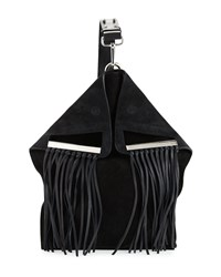 Cnc Costume National Suede Crossbody Bag W Fringe Black Costume National