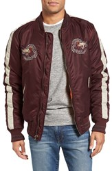 Schott Nyc Men's Nylon Souvenir Flight Jacket Burgundy
