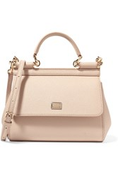 Dolce And Gabbana Sicily Small Textured Leather Tote Blush