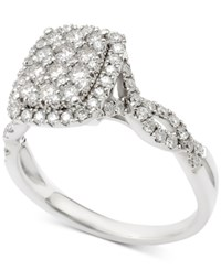 Macy's Diamond Cluster Wavy Band Engagement Ring 1 Ct. T.W. In 14K White Gold