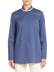 Lafayette 148 New York Excursion Stretch Avril Blouse Moonglow