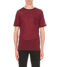The Kooples Striped Wool Jersey T Shirt Red