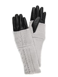 Jane Norman Grey And Black Leather Knitted Long Gloves