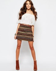 First And I Geo Tribal Printed Skirt Multi