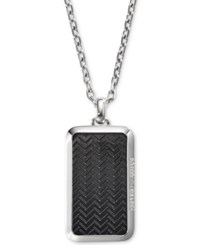 Armani Exchange Emporio Men's Stainless Steel Etched Dog Tag Necklace Egs2228001 Black