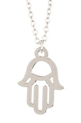 Kris Nations Sterling Silver Plated Hamsa Charm Necklace Metallic
