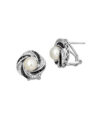 Lord And Taylor Black Diamond And Pearl Sterling Silver Earrings