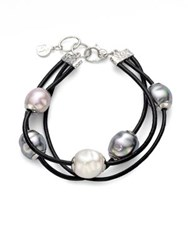 Majorica 12Mm Multicolor Baroque Pearl Sterling Silver And Leather Cord Multi Row Bracelet Multi Pearl