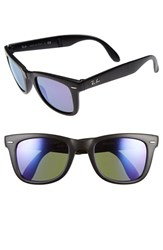 Women's Ray Ban 'Folding Wayfarer' 50Mm Sunglasses Black Purple Mirror