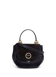 Michael Kors 'Isadore' Medium Suede Flap Leather Crossbody Saddle Bag Black