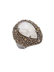 Bavna Diamond Moonstone And Sterling Silver Ring Size 7