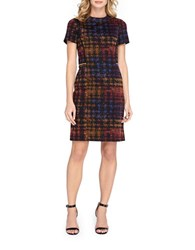 Tahari By Arthur S. Levine Plus Plaid Sheath Dress Black Red Yellow