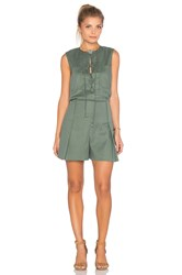 Derek Lam Sleeveless Lace Up Romper Green