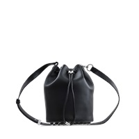 Alexander Wang Alpha Soft Calf Silver Mat Black Bucket Bag