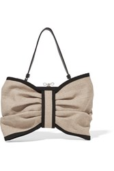 Red Valentino Redvalentino Leather Trimmed Canvas Shoulder Bag Taupe