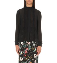 Warehouse Victoriana Chiffon Blouse Black