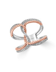 Effy Pave Rose Diamond 14K Rose And White Gold Twist Ring Two Tone