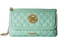 Love Moschino Long Classic Quilted Crossbody Bag Mint