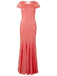 Gina Bacconi Full Sequin Long Dress Coral