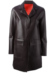 Msgm Faux Leather Coat Brown
