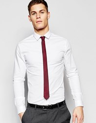 Asos Skinny Shirt In White With Burgundy Tie Pack Save 15 White