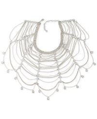 Carolee Silver Tone Multi Crystal And Chain Collar Necklace