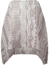 Issey Miyake Pleats Please By 'Painted Pottery Madame' Poncho Brown