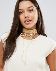 Johnny Loves Rosie Gold Lace And Tie Up Choker Gold