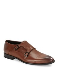 Hugo Boss Double Monk Strap Leather Dress Shoes Brown
