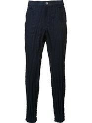 Issey Miyake Stretch Textured Skinny Trousers Blue