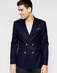 Asos Skinny Double Breasted Blazer With Gold Buttons Navy
