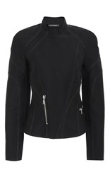 Zac Posen Long Sleeve Moto Jacket Black
