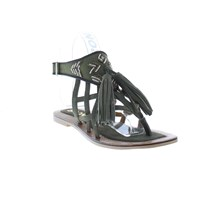 Bronx Strappy Flat Sandals With Tassle Olive