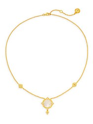 Freida Rothman Mirror Crystal Pendant Necklace Gold