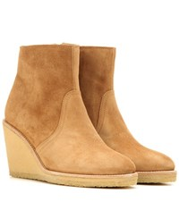 A.P.C. Suede Wedge Ankle Boots Brown
