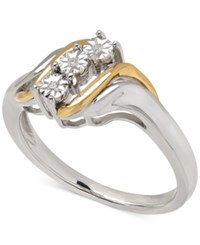 Macy's Diamond Accent Ring In 14K Gold And Sterling Silver