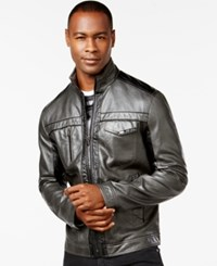 Inc International Concepts Jones Two Tone Faux Leather Jacket Only At Macy's Charcoal