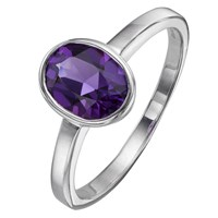 A B Davis 9Ct White Gold Gemstone Oval Rubover Ring Amethyst