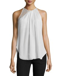Halston Sleeveless Lace Inset Top Vapor